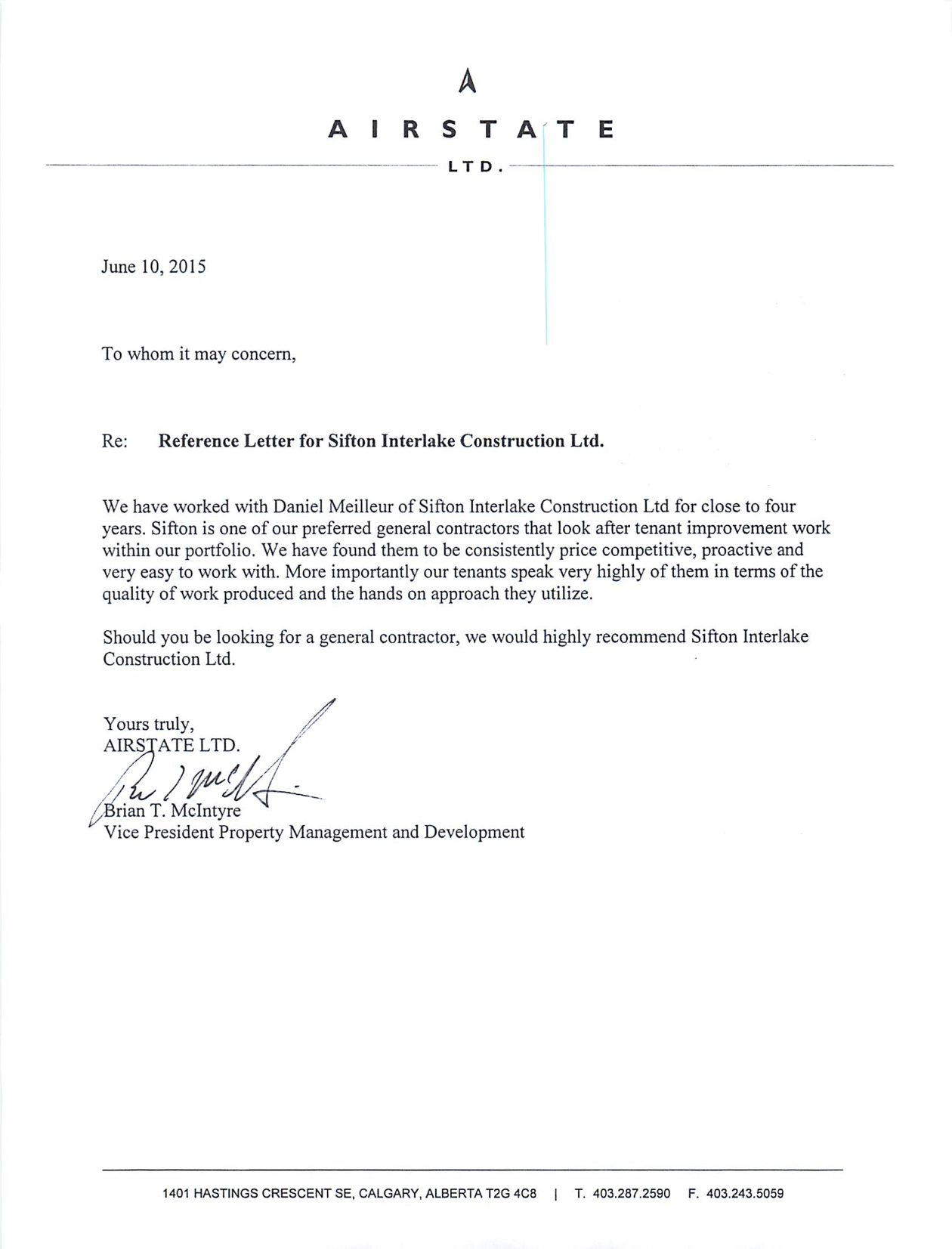 Airstate LTD Letter Of Reference